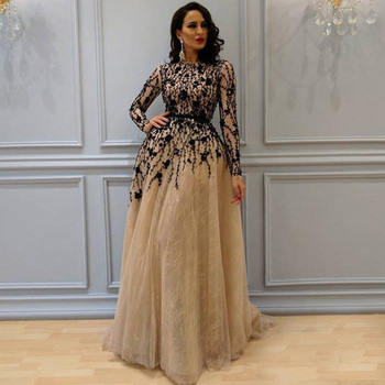2019 elegant Long Sleeves Lace A Line Evening Dresses Black Major Beaded Tulle A Line Formal Party Prom Evening Gowns For Women vensanac 2018 o neck metal leaf sash long a line evening dresses vintage tank lace crystals party tulle prom gowns