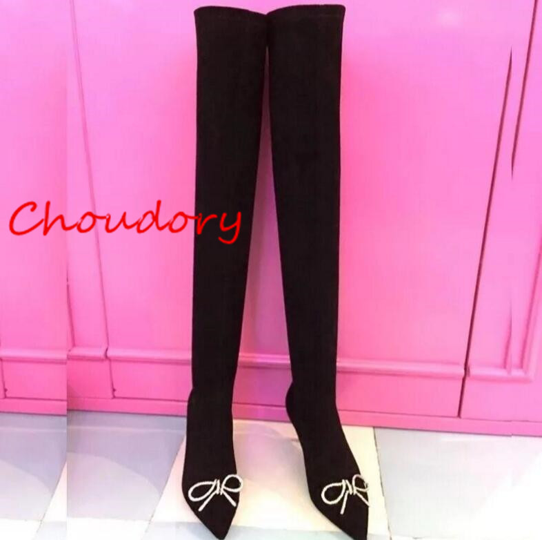 Choudory Fashion Black Kid Suede Thigh-High-Boots Crystal Over-the-Knee Boots Butterfly-Knot Thin Heel Womens Shoes