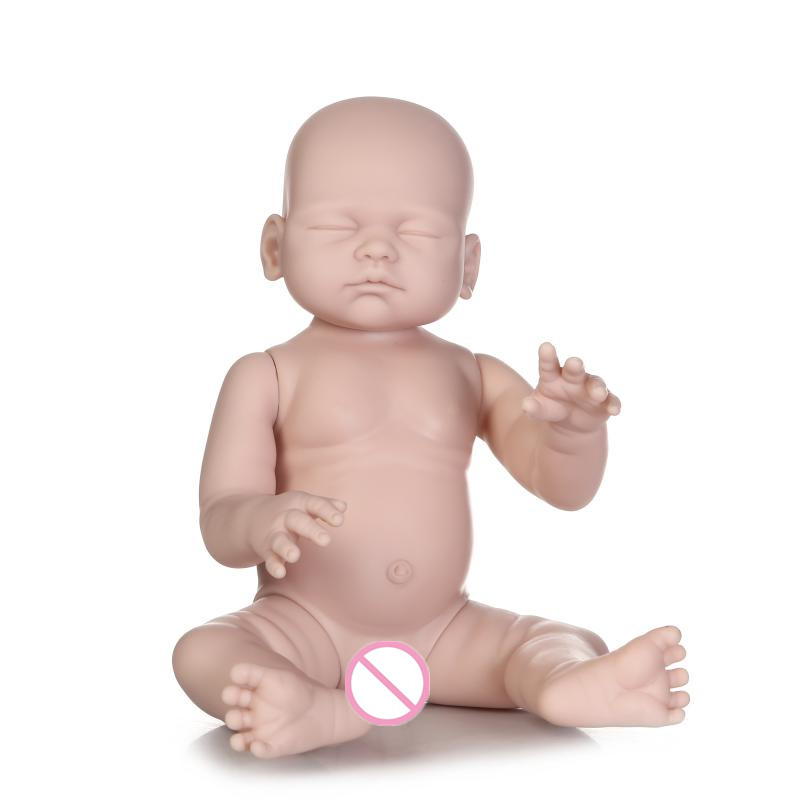 20Inch Closed Eyes Boy Girl Reborn doll kit Full Limb Anatomically Correct not Finished Product Baby Realistic Beborn Baby