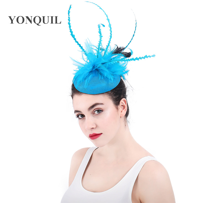 New Charming Light Blue Imitation Sinamay Fascinators Hats Wedding Hair Accessories With Hairclips Flower Kentucky Headpieces