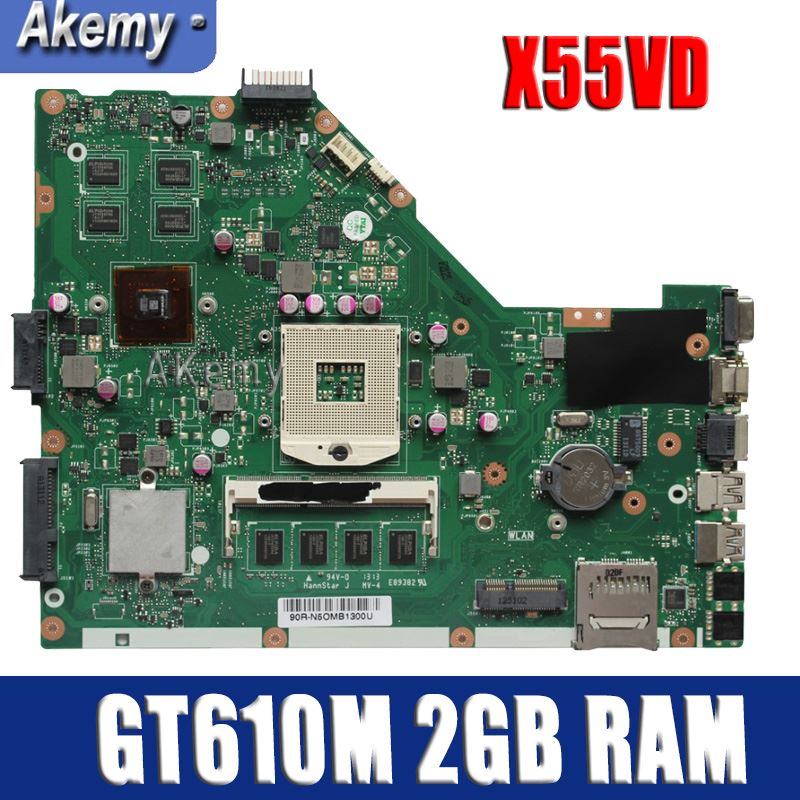 For ASUS X55VDR X55VD REV3.2 Motherboard W// i3-2370 CPU GT610M 2GB RAM Mainboard