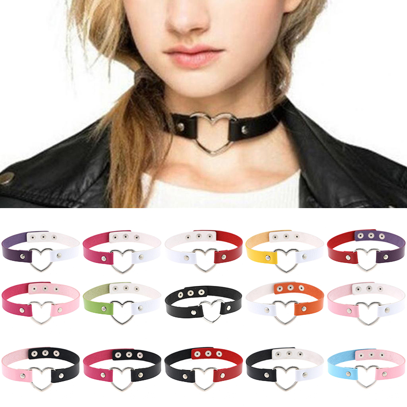 Vintage Fashion Women Men New Punk Goth Jewelry Handmade Heart Shape PU Leather Collar Choker Necklace Adjustable Choker Necklaces    - AliExpress