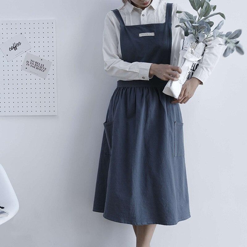 חדש קפלים חצאית כותנה פשתן סינר נשים בישול מטבח סינר עבודה אחיד ופרח חנות סינר עבור אישה ארוך שמלה חלוקים