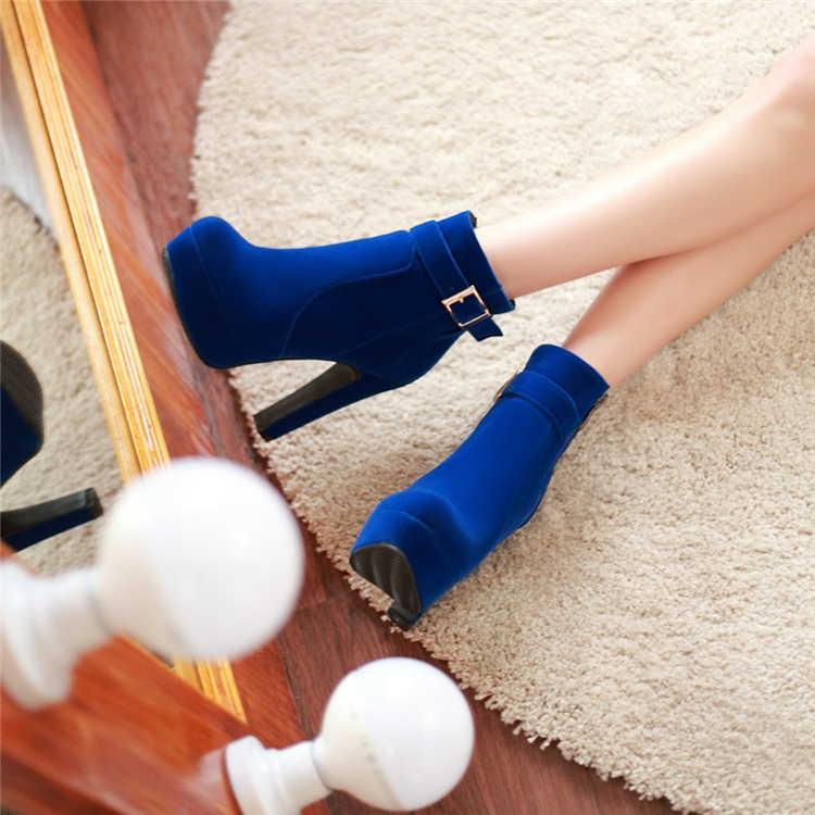 SLYXSH Yüksek Topuklu Kadın yarım çizmeler Lace Up Sonbahar Kış Platformu Bayanlar Çizmeler Büyük Boy moda ayakkabılar Beyaz Siyah Kahverengi