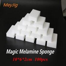 Белая меламиновая губка, 100 шт, 100*60*20 мм, волшебная губка, ластик для кухни, офиса аксессуары для чистки ванной комнаты/мытья посуды, нано очистка
