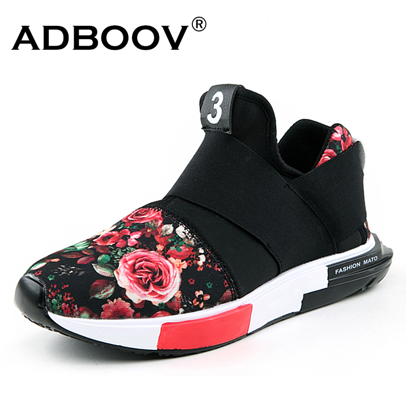 ADBOOV 2018 Fashion Sneakers Women Casual Shoes Flower Print Slip On Shoes Cloth Ladies Shoes Large Size Flat Chaussures Femme flower print flat sliders