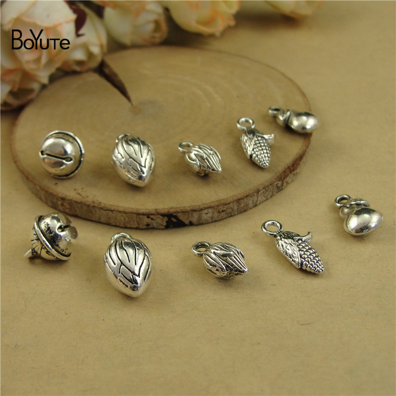 Boyute New Arrive Tibetan Silver Charms Bell Corn Pear Diy Hand Made Alloy Jewelry Accessories Wholesale Firm In Structure 100 Pieces/lot