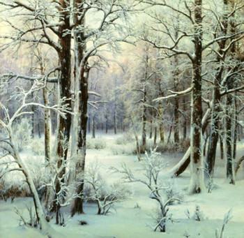 Large Oil Painting Modern Canvas Wall Art  I. Velts - Forest Winter Snow Dusk Painting for Living Room Decor Handpainted
