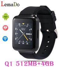 Q1 smart watch android 5.1 os mtk6580 quad core 4กิกะไบต์รอมสนับสนุนบลูทูธไร้สายgps 3กรัมนาโนซิมgoogleเล่นs mart w atch