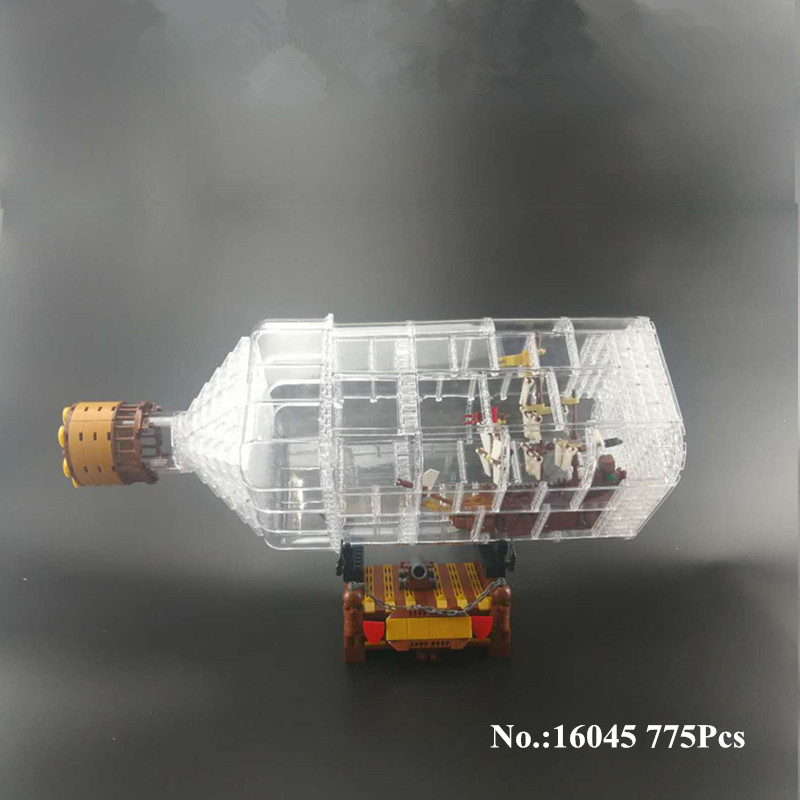 H&HXY IN STOCK 16045 Genuine 775pcs Creative Series The Ship in the Bottle Set Building Blocks Brick Educational lepin Toy Model