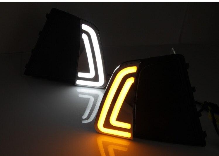 ФОТО Hireno Car LED DRL Waterproof ABS 12V Daytime Running Lights for Hyundai IX25 2015-17 Fog lamp 2PCS