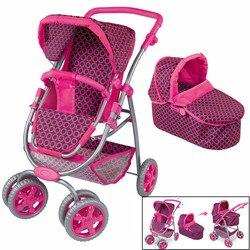 Große Rad Baby Kinderwagen Spielzeug Mädchen Kinder Pretend Spielen Spielzeug Möbel Kinderwagen Baby Puppe Kinderwagen Einstellbar Verdickung Putter