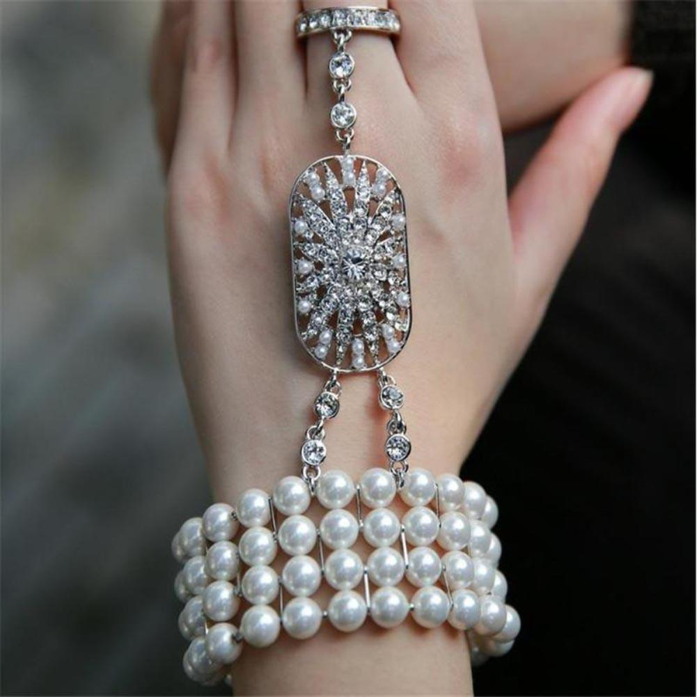 1920's Great Gatsby Crystal Pearl <font><b>Hand</b></font> <font><b>Chain</b></font> Slave <font><b>Bracelet</b></font> <font><b>Ring</b></font> Jewelry image