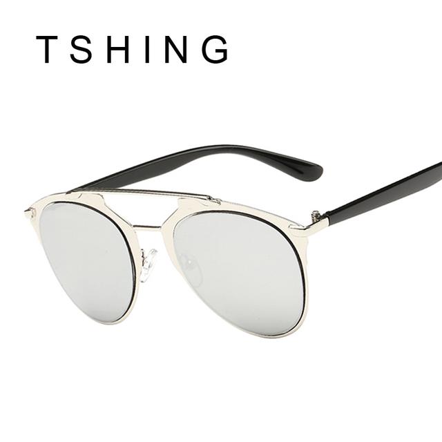 TSHING Fashion Classic Cat Eye Sunglasses Women Luxury Brand Designer Metal Frame Vintage Mirror UV400