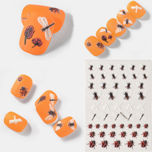 1pc 3D Acrylic Engraved Flower Nail Sticker Flowers Bee Ladybug Series design nail Water Decals Fashion Slide