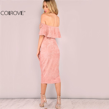 COLROVIE Women Party dresses Elegant Evening Sexy Club Dresses Backless Midi Pink Faux Suede Off The Shoulder Ruffle Dress 1