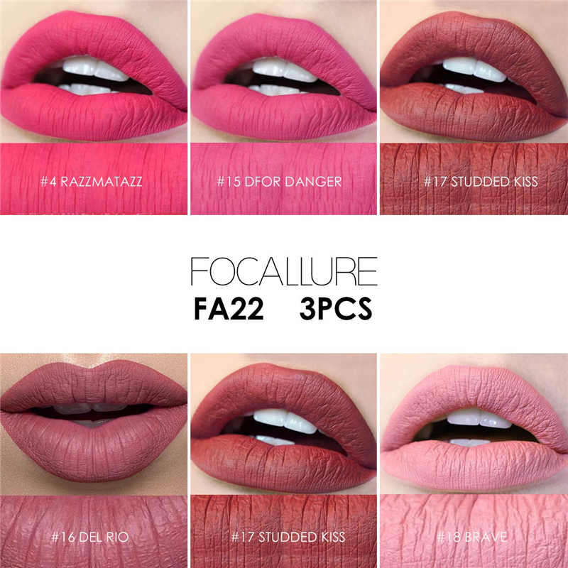 focallure 3pcs matte lip crayon high quality with long lasting