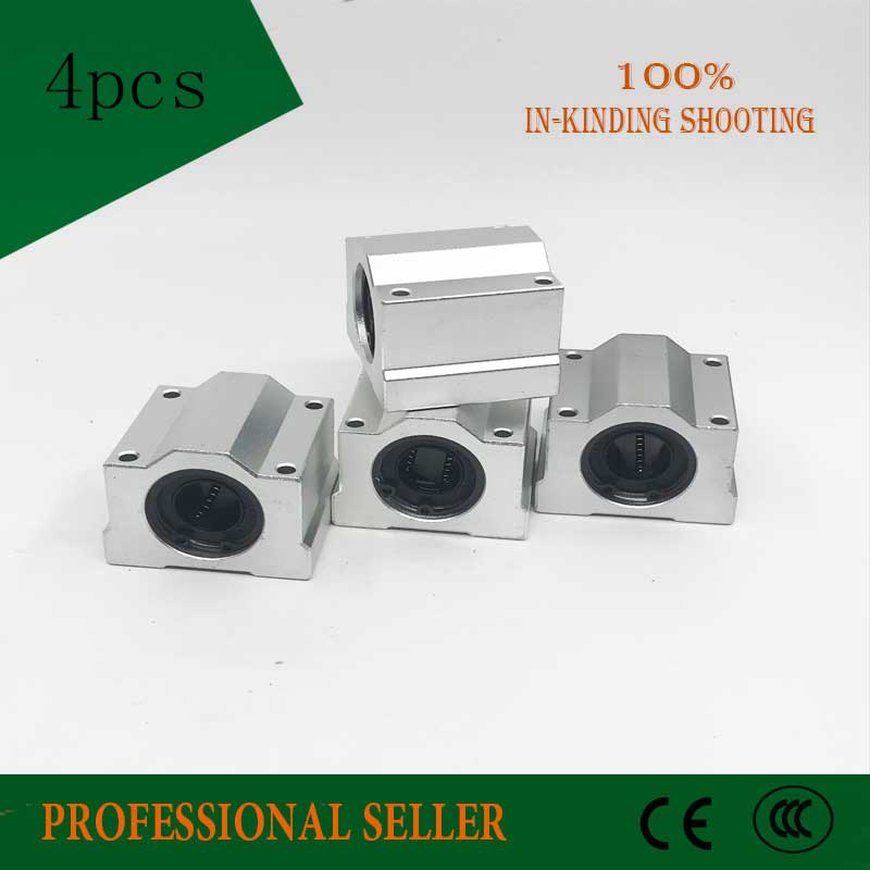 Free Shipping 4pcs SC16UU SCS16UU Linear motion ball bearings slide block bushing for 16mm linear shaft guide rail CNC parts
