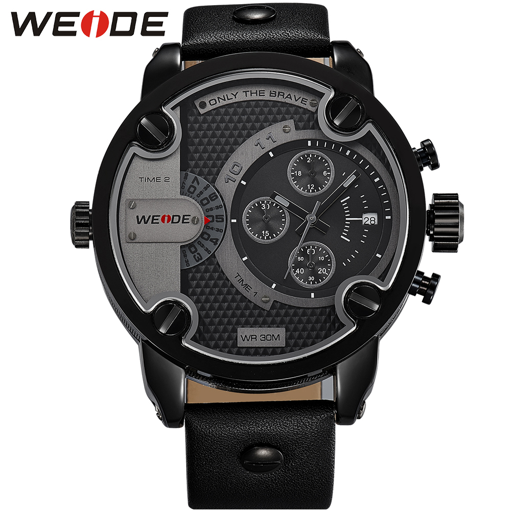 GaGa Deal! WEIDE Watches Men Luxury Brand Leather Strap Quartz Dual Time Zone Analog Date Men Sport Military Oversize Wristwatch