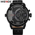 GaGa Deal! WEIDE Watches Men Luxury Brand Leather Strap Quartz Dual Time Zone Analog Date Men Sport Military Oversize Wristwatch