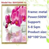 N500W-12 2 unids/lote ¡envío gratis montaje en pared de cristal caliente pared con imagen de infrarrojos calentador calentador de cristal de carbono, con termostato