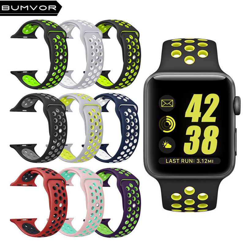 US $2.1 49% OFF| For apple watch nike Silicone Replacement Sport Band For 44/40MM Apple Watch Series 42/38MM Wrist Bracelet Strap For iWatch -in ...