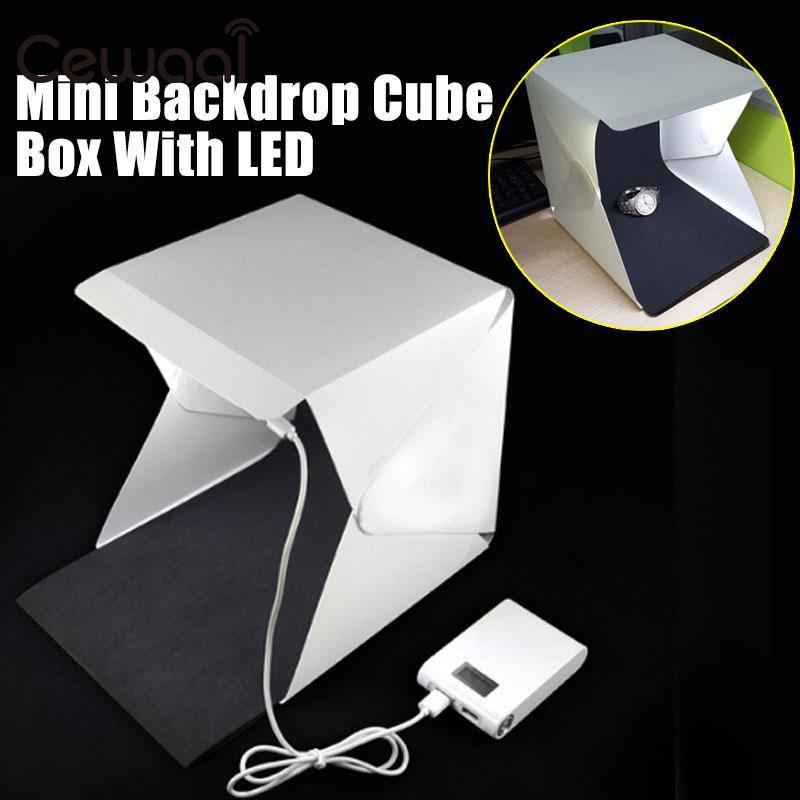 Cewaal Portable Folding Lightbox Photography Studio Softbox LED Light Soft Box for DSLR Camera Photo Background Wholsale