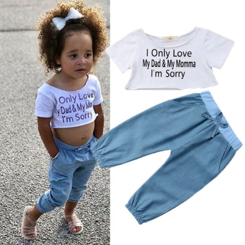 Summer Toddler Kids Baby Girl T-shirt Tops+Long Pants 2PCS Outfits Clothes Set