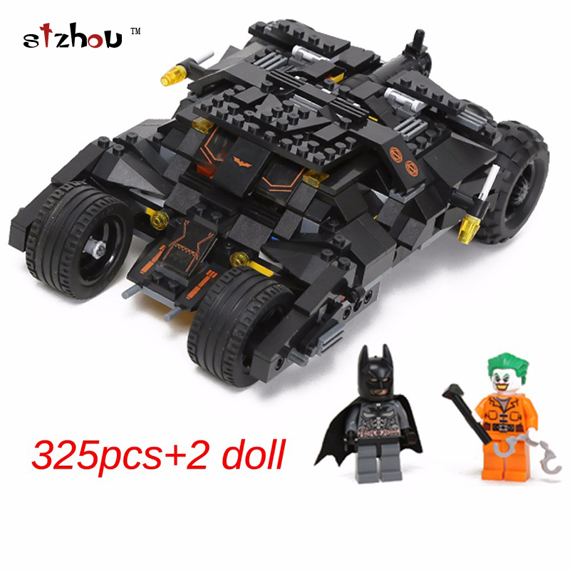 325pcs new Comics Super Heroes Batman series The Tumbler car model Building Blocks classic Compatible Legoed Toy Set