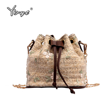 цена на 2019new casual straw bucket bag joker leisure chain shoulder crossbody messenger bag summer style women beach bag ladies handbag