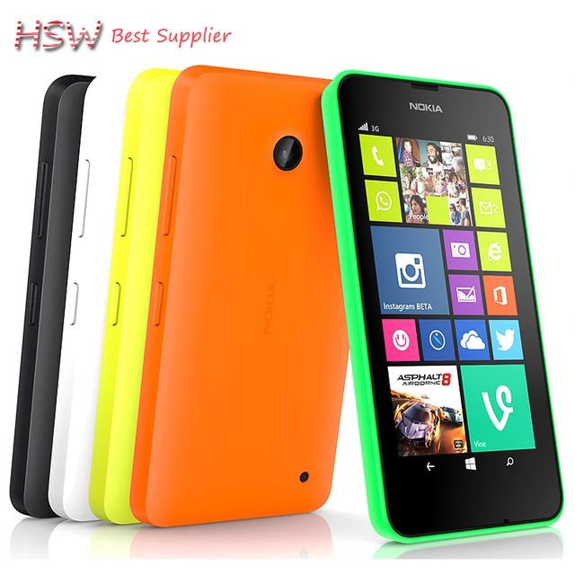 100% Оригинал разблокирована Nokia Lumia 630 Разблокирована Сотовые телефоны quad core 5MP камера 4.5 Дюймов ОС Windows dual sim карты Бесплатная Доставка