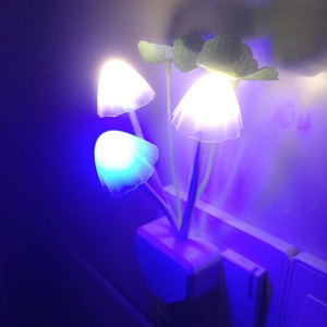 Image 2 - Thrisdar EU US Plug Mushroom LED Wall Lamp Novelty Fungus LED Night Light Baby Kids Bedroom Sleeping Light Sensor Night Lamps