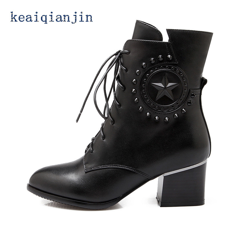 ФОТО Genuine Leather Gothic Shoes 2017 Autumn and Winter Fashion Rivets Lace-Up High Heel Boots Black Plus Size Woman Ankle Boots