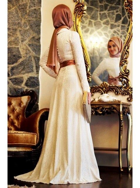 White Lace Long Sleeve Muslim Evening Dresses 2017 Hijab Islamic Dubai  Abaya Kaftan Ribbons A-Line Evening Gowns Prom Dresses 66573a986037