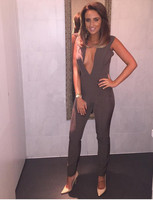 Womens-Gray-Deep-v-Neck-Fitted-Elegant-White-Sexy-Bodycon-Jumpsuit-Clubwear-2