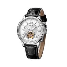 Top Fashion Brand Leather Strap Watchband Skeleton Mans Watches White Black Watchface Japan Automatic Waterproof Man Wristwatch