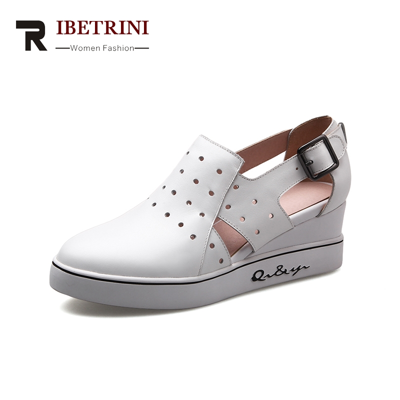 RIBETRINI 2018 Genuine Leather New Brand Large Size 34-43 Buckle Strap Platform Women Shoes Woman Widge Heels Shoes Women ribetrini summer large size 34 40 cow genuine leather woman shoes mix color leisure flats women shoes sneakers