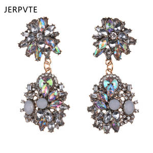 Dangle Earrings Jewellery Flowers Crystal Ethnic Boho Indian-Statement Vintage Women Za