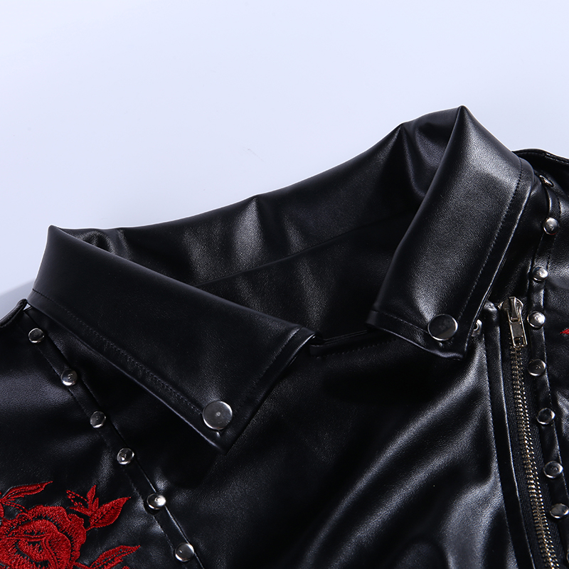 WannaThis Women Black Skull Print Rivet PU Faux Sexy Leather Jackets Lady Fashion Embroidery Matte Motorcycle Coat Biker Outwear in Vests amp Waistcoats from Women 39 s Clothing