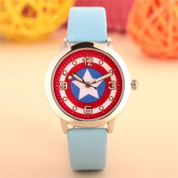 100pcs/lot wholesales hot sales fashion 3D cartoon Captain America students boys children gifts watch quartz leather wristwatch 4