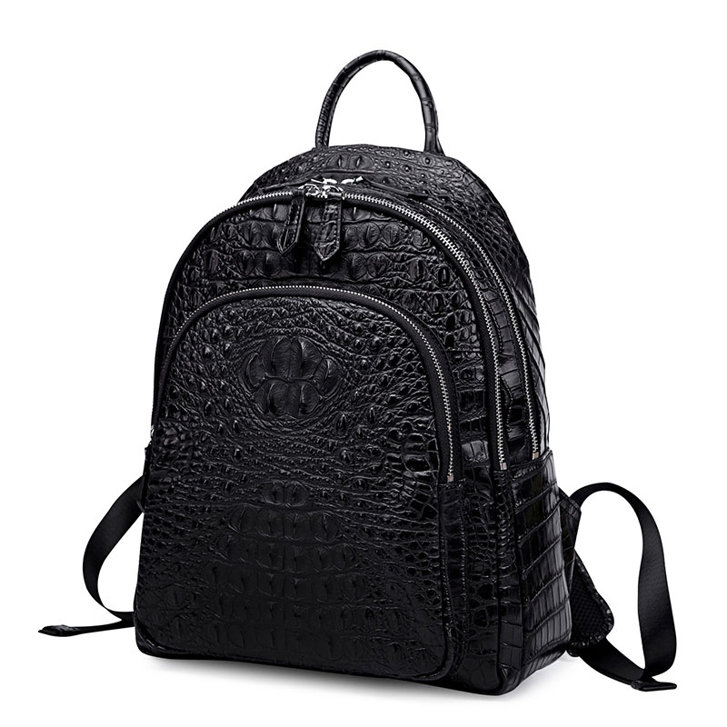 Korean Cowhide Leather Crocodile Grain Women's Backpack High Quality Bussiness Travel Rucksack Laptop Notebook School Bag
