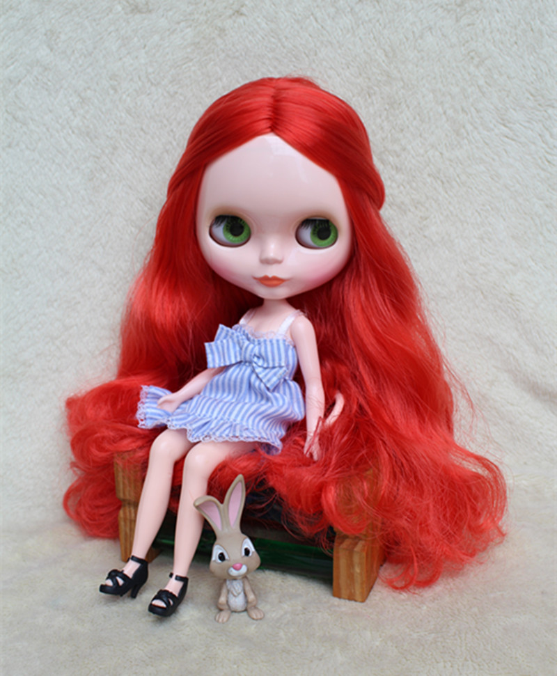 Blyth doll Nude Dolls Fluorescent Red Curly DIY Dolls for makeup 30cm General Body Replaceable Multi-joint Body ...