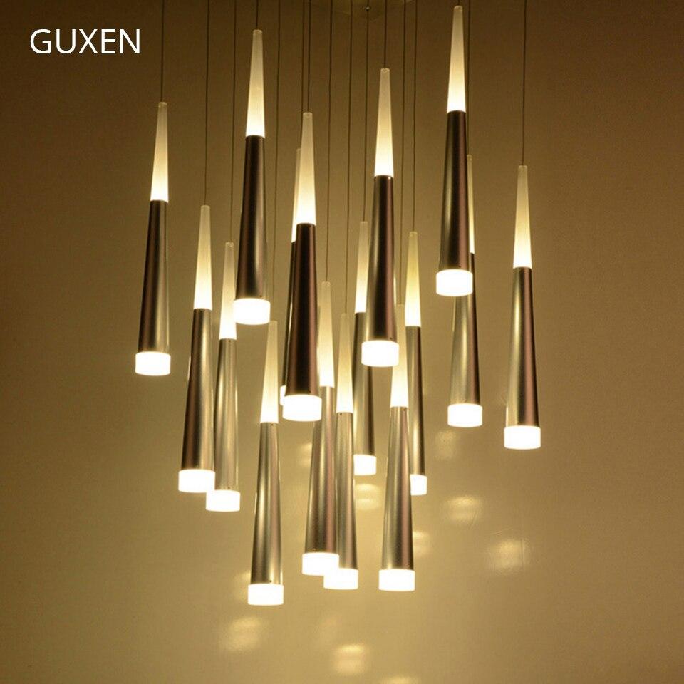 GUXEN Led chandelier light Aluminum acrylic chandelier Meteor shower LED light Simple and stylish for Hotel Restaurant