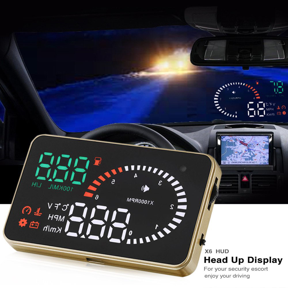 X6 3Inch Car HUD Head Up Display OBD2 II Universal Overspeed Warning System Projector Windshield Auto Electronic Voltage Alarm 4f car obd2 ii manual switch hud km h mph overspeed warning windshield projector alarm system head up display