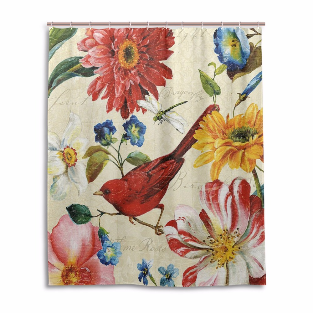 Sunflower shower curtain hooks - Bird Shower Curtain Hooks