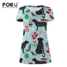 FORUDESIGNS Funny Puppy Black Labrador Print Women Dress Ladies Fashion Mini for Female Cute Dog Pattern Beach Party Cloth