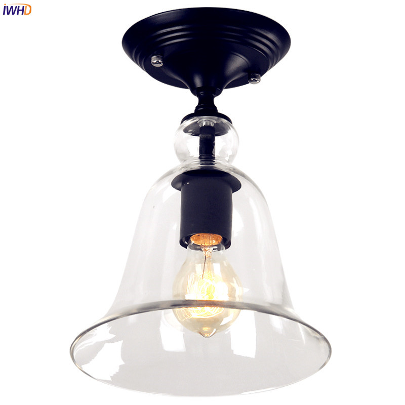IWHD Retro Vintage Ceiling Light Fixtures Flafonnier Hallway Bolcany LED Edison Ceiling Lights Home Lighting Glass Shade|Ceiling Lights| |  - title=