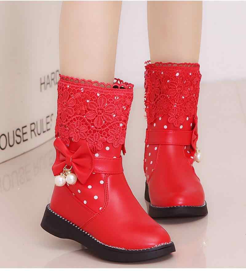 SKHEK Girls Boots New Autumn Winter Fashion Princess Kids Soft Sneakers Child Snow Boots Spring PU Leather Children Shoes Kids