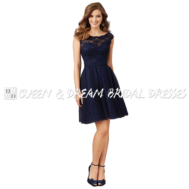 3ada8d4f1e27 Simple Navy Blue Lace Bridesmaid Dresses Formal Lace Tulle Short Girls  Bridesmaid Dress Party Prom Dress For Girls BD07