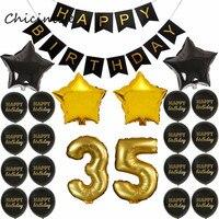Chicinlife золотой черный цвет тема для взрослых 35 45 55 65 70 75 80 85 90 лет День рождения украшение счастливый плакат